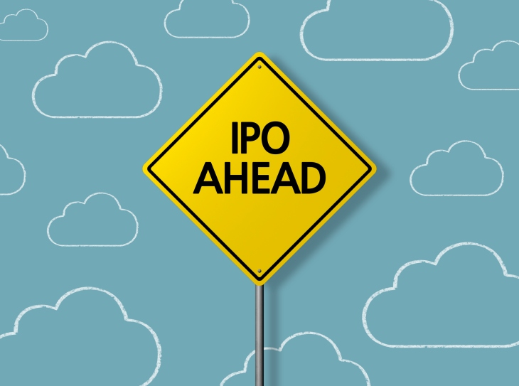 IPO AHEAD – Business Chalkboard Background