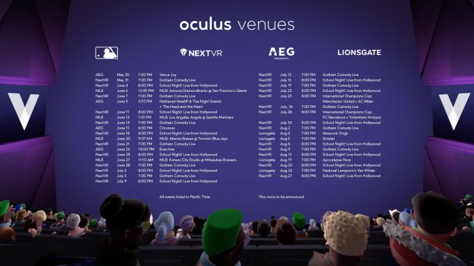 Oculus launches Venues app with a robust lineup of summer events