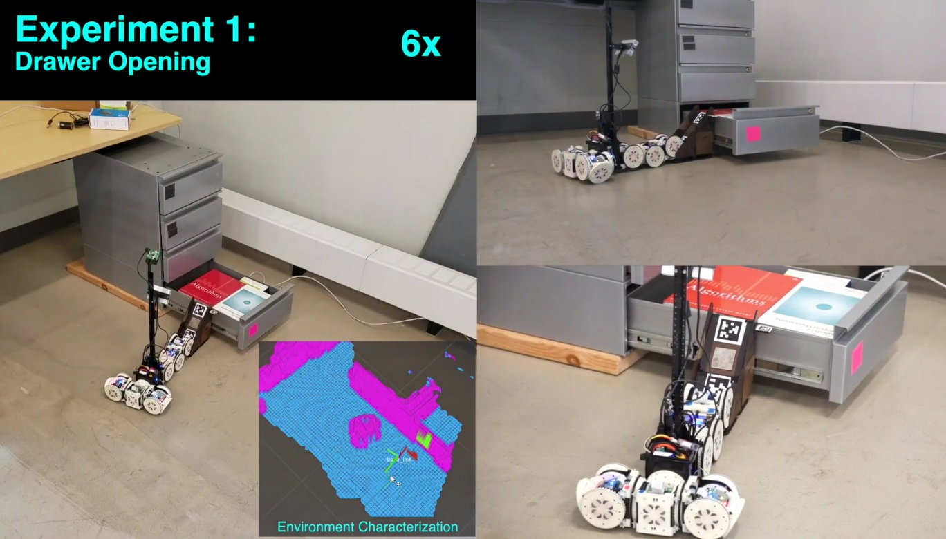 Watch a hard-working robot improvise to climb drawers and cross gaps