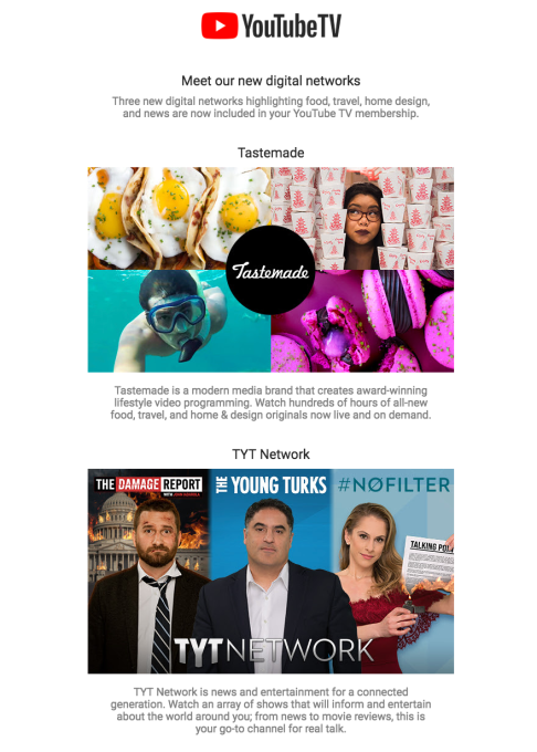 YouTube TV adds Tastemade and The Young Turks, as it expands its digital media content