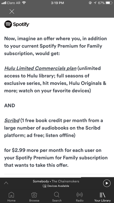 Spotify tests consumer interest in a bundle with both Hulu and Scribd's audiobooks
