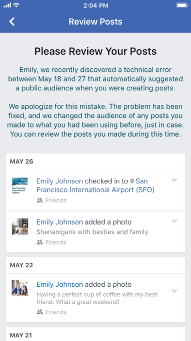 Facebook alerts 14M to privacy bug that changed status composer to public AL Screen