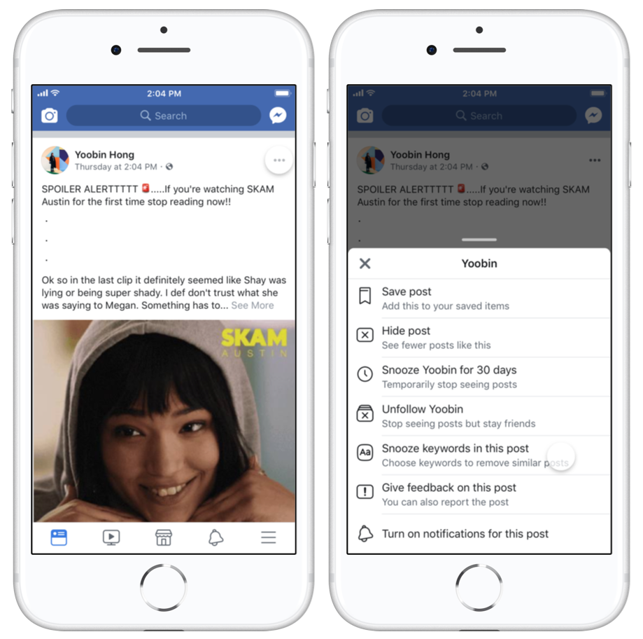 Facebook is testing keyword snoozing to block spoilers, unwanted politics, etc.