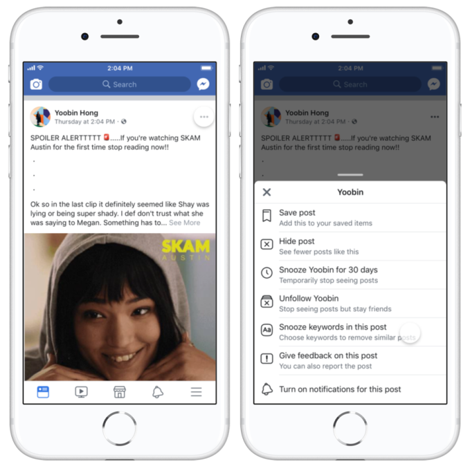 Facebook tests 30-day keyword snoozing to fight spoilers, triggers