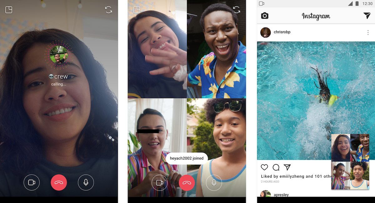Instagram now lets you 4-way group video chat as you browse | TechCrunch