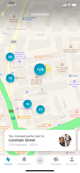 Happn takes on Tinder Places with an interactive map of missed