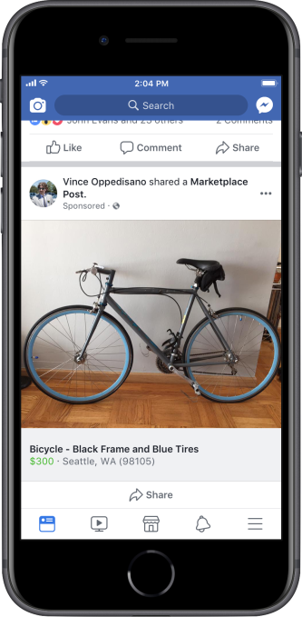 Facebook finally monetizes Marketplace with feed ads for listings