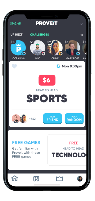 Bet money on yourself with Proveit, the 1-vs-1 trivia app