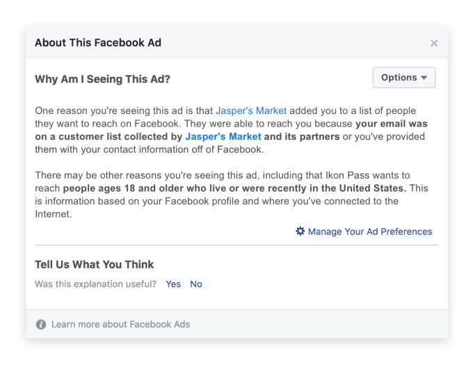 Why Am I Seeing This Ad - Facebook demands advertisers have consent for email/phone targeting – TechCrunch