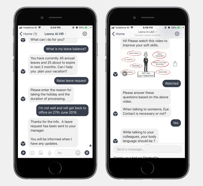 Leena AI builds HR chat bots to answer policy questions automatically