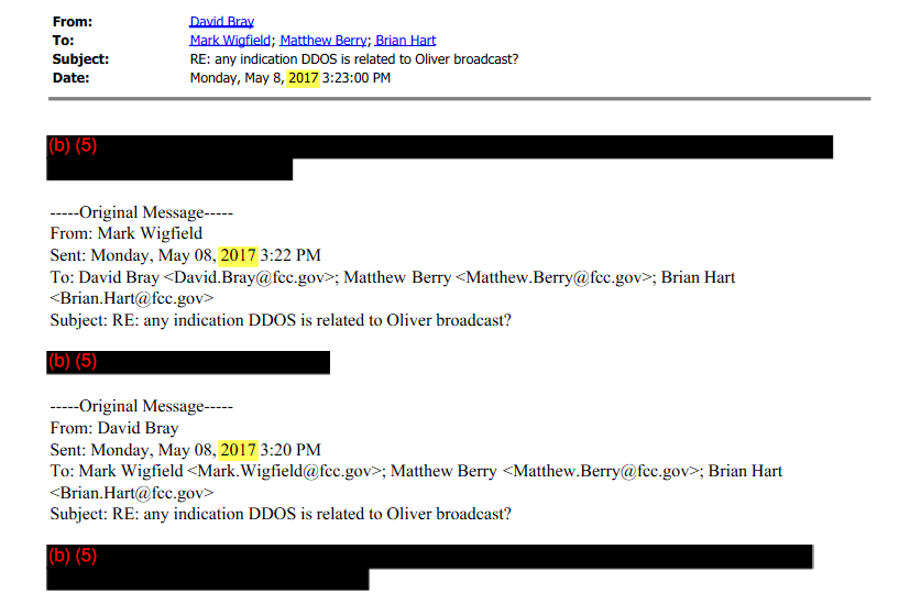FCC has a redaction party with emails relating to mystery attack on comment system