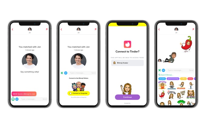 Tinder tests Bitmoji integration using the recently launched Snap Kit