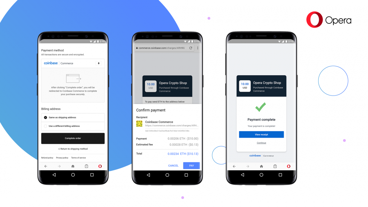 Opera adds a crypto wallet to its mobile browser