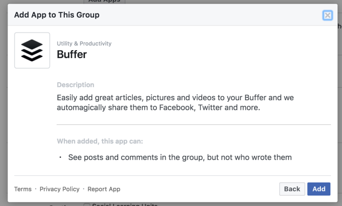 - Facebook Groups Apps Buffer Description - Facebook quietly relaunches apps for Groups platform after lockdown – TechCrunch