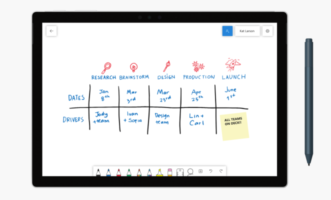 Microsoft Whiteboard is available to all on Windows, iOS version coming soon