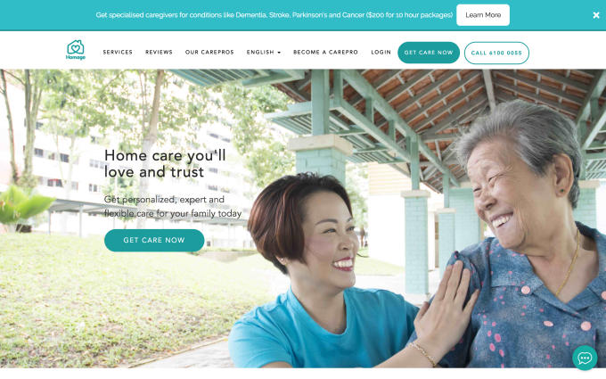 Singapore's Homage, which matches care recipients and caregivers, raises $4.15M for expansion Screenshot 2018 07 02 23