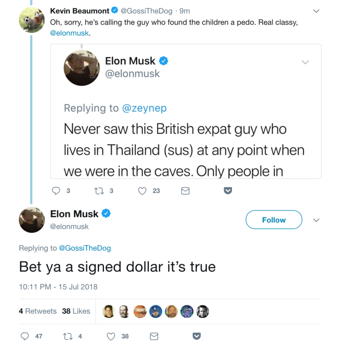 "Elon Musk tweets he'll ""bet ya a signed dollar"" that Thai cave rescuer is a ""pedo"" Screenshot 2018 07 15 22"