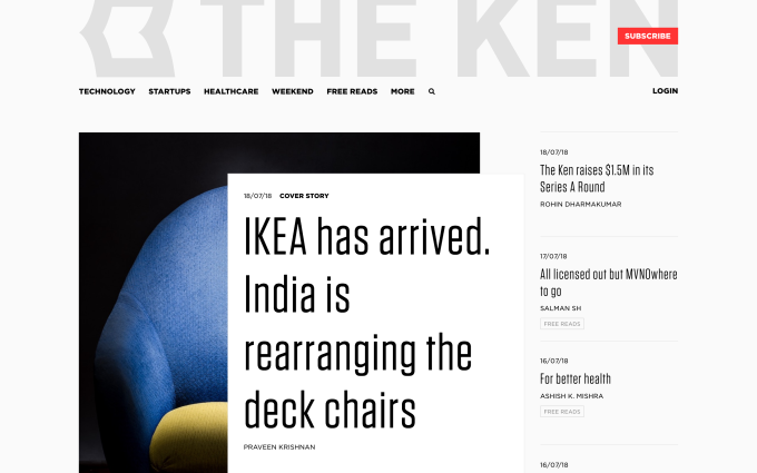 The Ken raises $1.5M to grow its subscription journalism business in India
