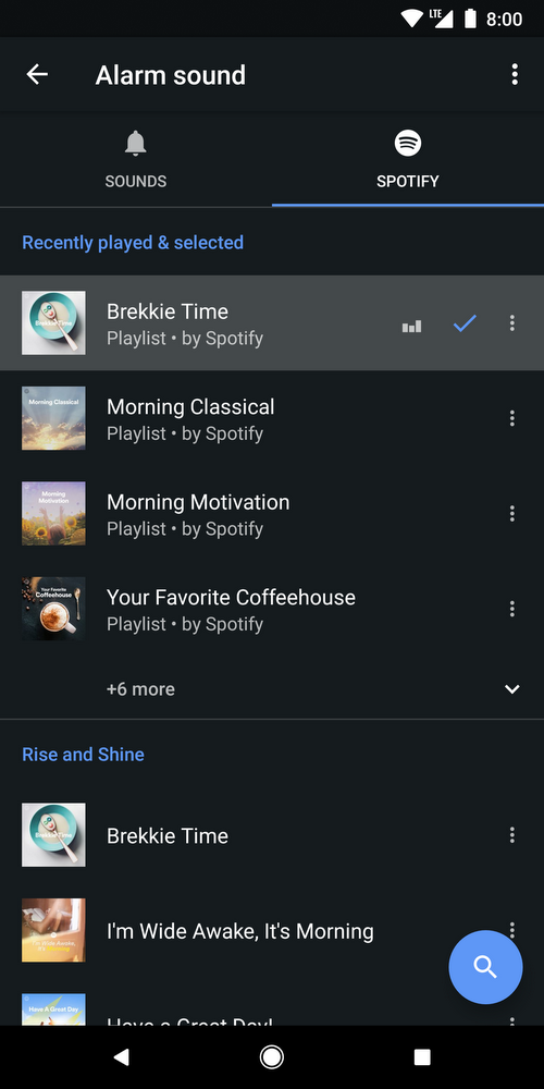 Google's Clock app can now wake you up with music from Spotify