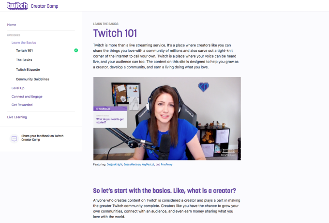 Twitch launches a 'how-to' site for streamers, Twitch Creator Camp