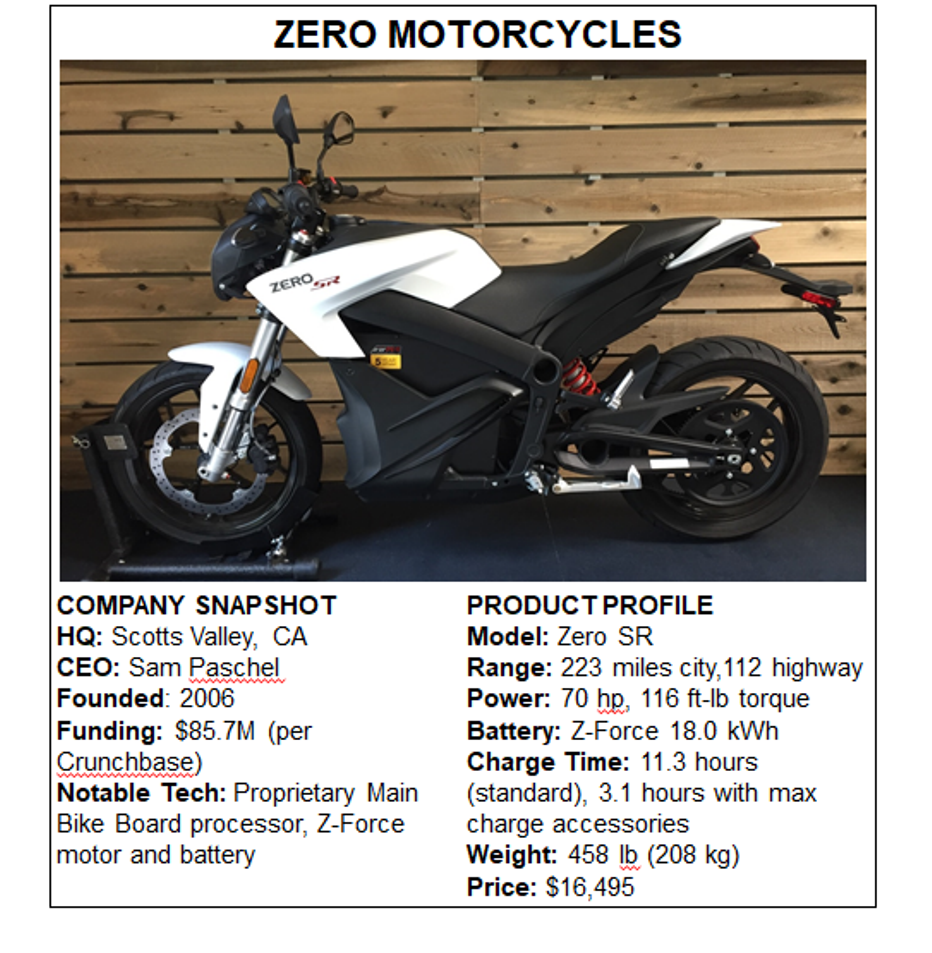 275585944f6 Of the three startups, Scotts Valley, California based Zero Motorcycles has  the widest market and model breadth. The company has six base models, ...