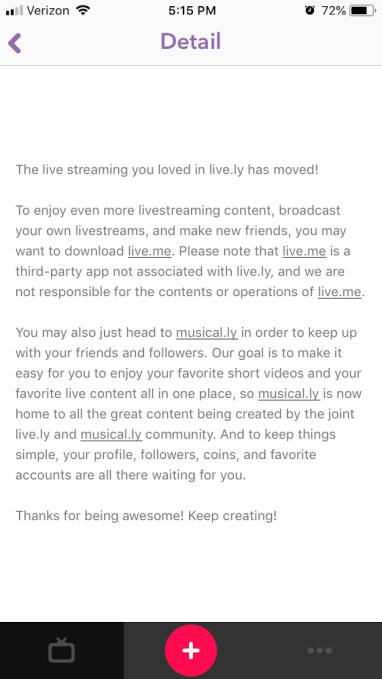 Musical.ly's shutdown of Live.ly was contractually obligated
