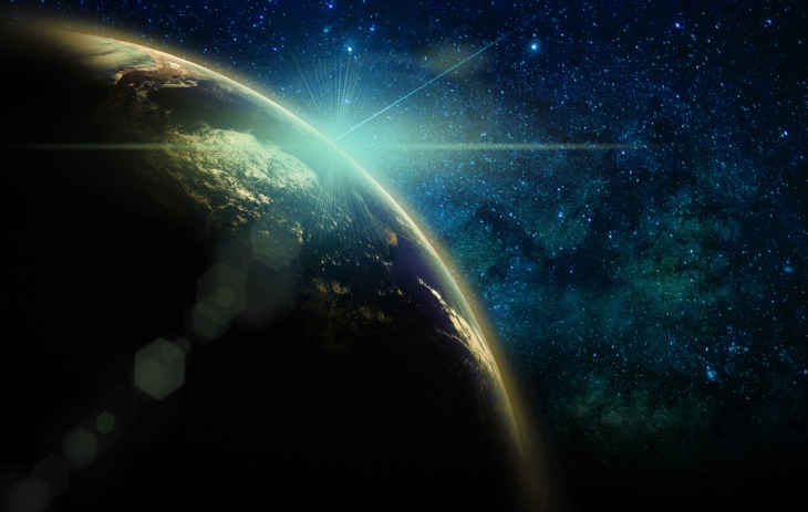Part of earth with sun rise and lens flare over the Milky Way background, Internet Network concept,