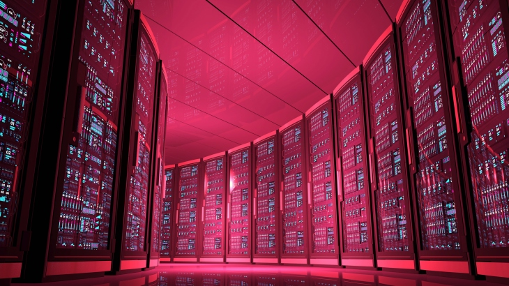 Futuristic data center illuminated by red light at night