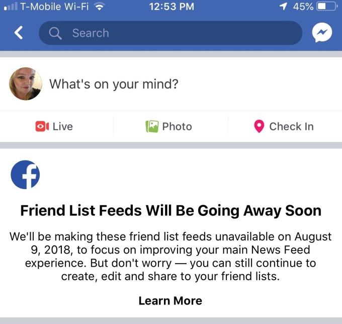 Facebook is shutting down Friend List Feeds today