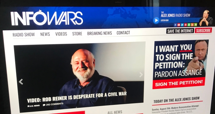 Facebook has removed 4 Infowars pages — but not because of fake news