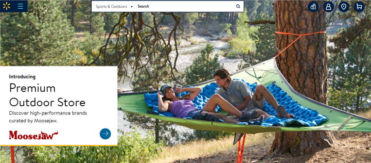 Moosejaw is the first of Walmart's acquired brands to open a digital store on the site