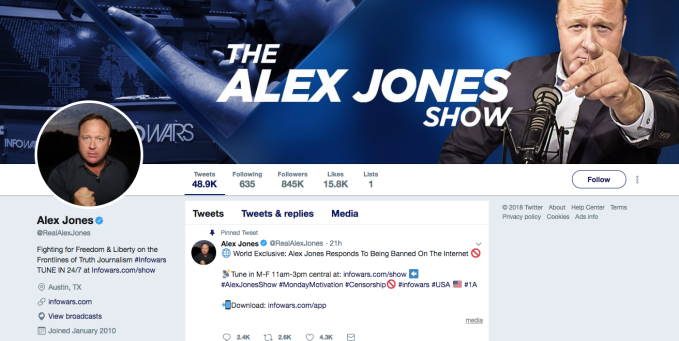 Here's Twitter's position on Alex Jones (and hate-peddling anti-truthers) — hint: It's a fudge