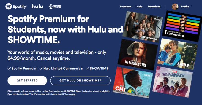 Spotify expands its $4.99 per month student bundle with Hulu to include Showtime