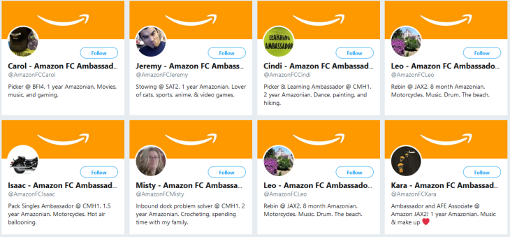 amazon has developed an unnerving stepford like presence on twitter in the form of several accounts of definitely real on the floor workers who regurgitate