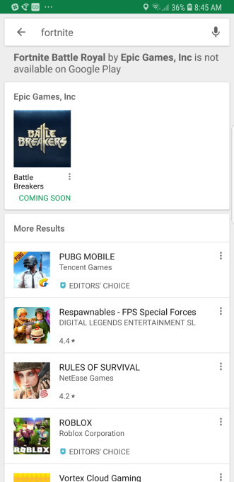 now when users search for things like fortnite or fortnite battle royale google play will respond that the app is not available on google play - fortnite google search