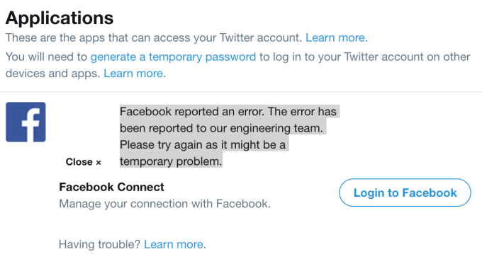 Twitter's deletion of its Facebook app caused old cross-posts to temporarily disappear