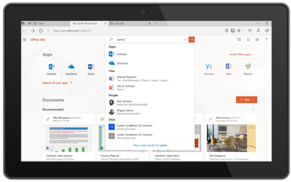 Microsoft Office AI displayed on a tablet device
