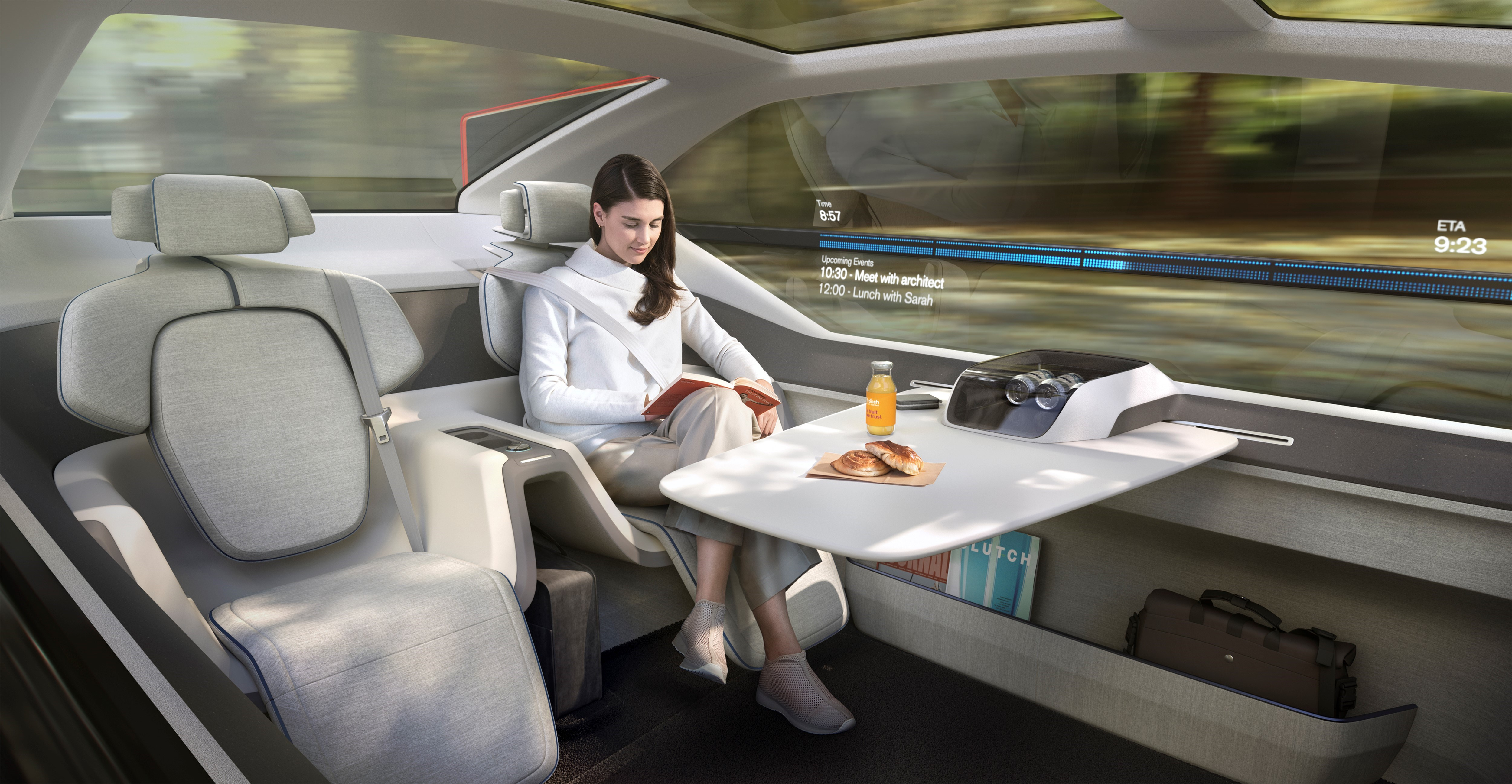 The Volvo 360c concept is an office-bed-living room mashup to disrupt domestic air travel