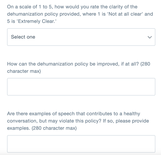Twitter says it will now ask everyone for feedback about its policy changes, starting today