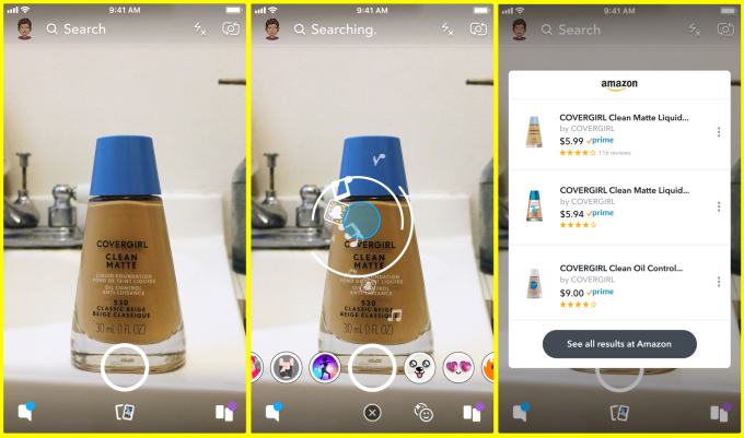 Snapchat lets you take a photo of an object to buy it on Amazon