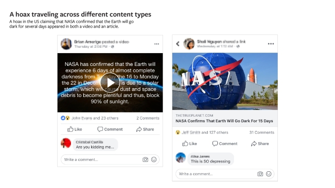 Traveling hoaxes - Facebook rolls out photo/video fact checking so partners can train its AI – TechCrunch