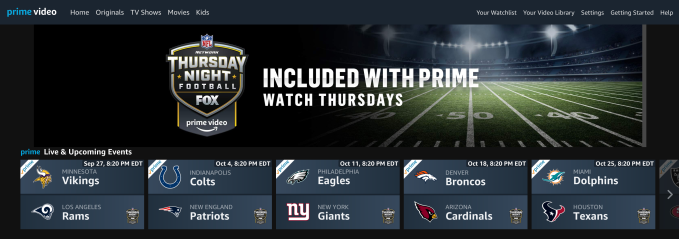 Amazon S Thursday Night Football Live Stream Will Feature Real Time Stats Amazon Com Shopping Techcrunch