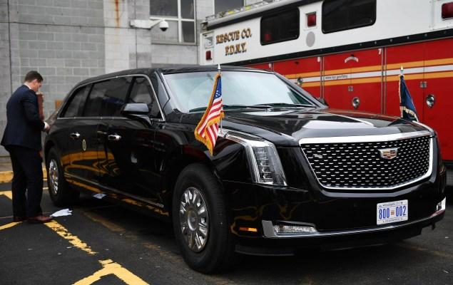 Trump presidential limo cadillac