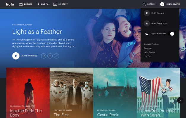Hulu Adds a Dark Mode on the Web