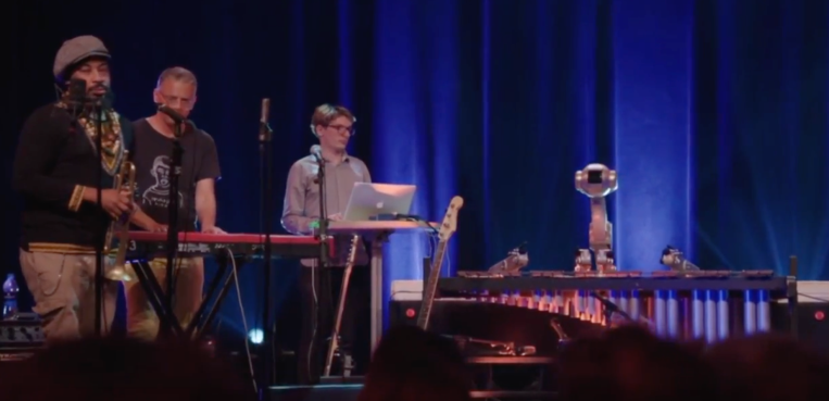 Watch Shimon the marimba-playing robot play along to jazz, reggae, and hip hop