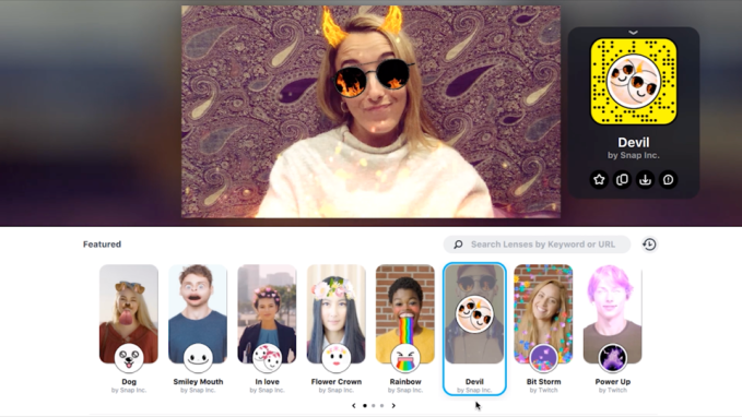 Snapchat's new Camera desktop camera app brings AR masks to Twitch
