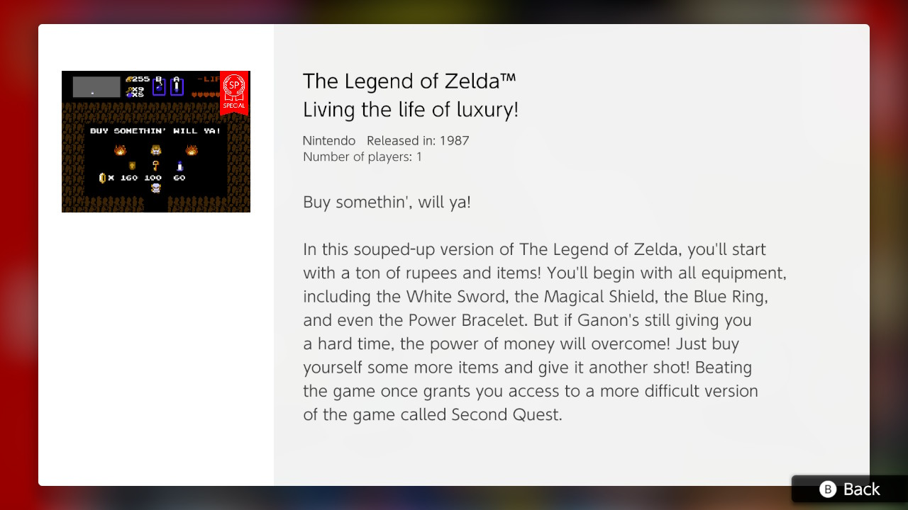 Nintendo's 'souped-up' NES Zelda loads you with gear for an easier adventure
