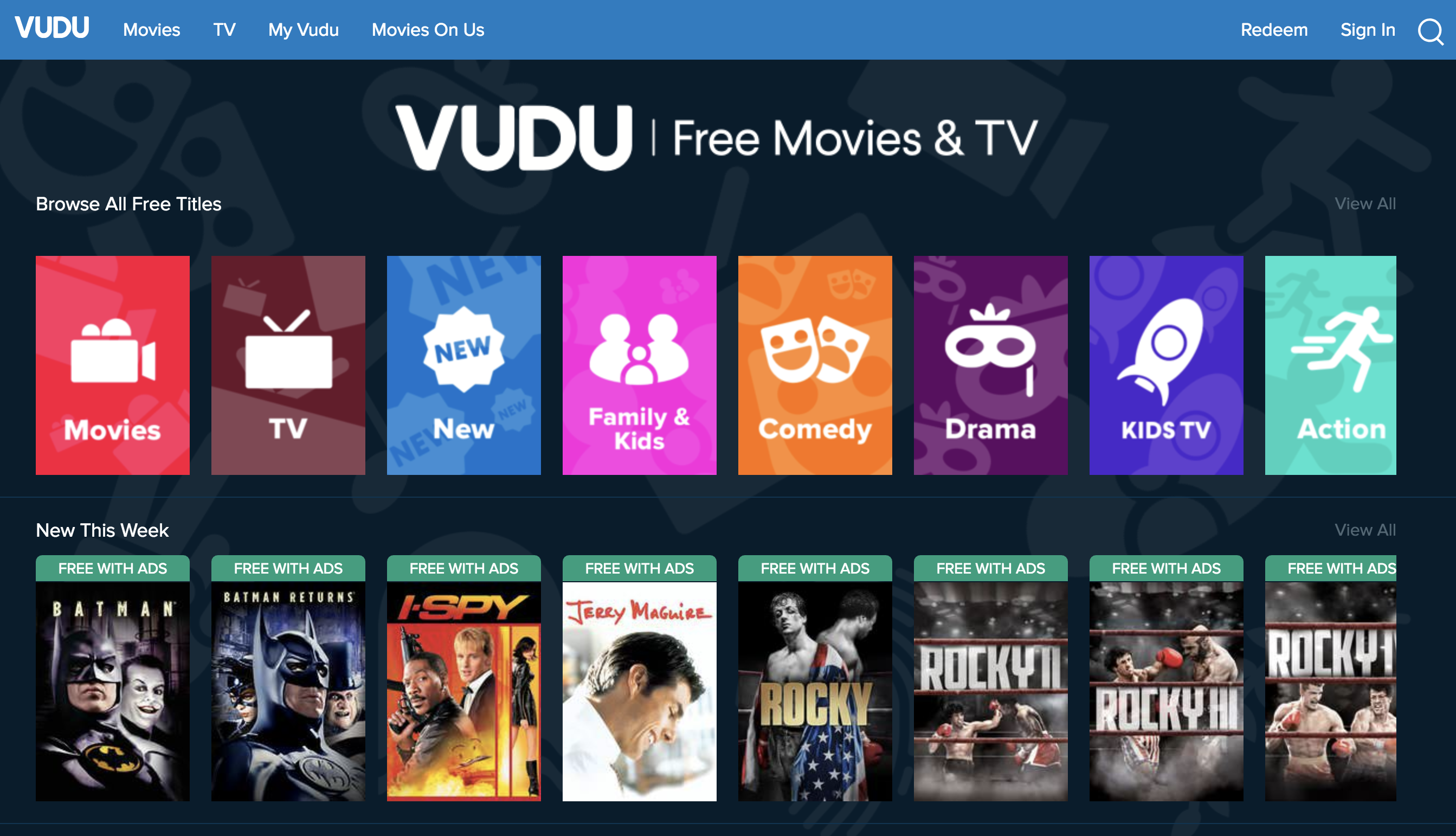 Vudu free movies & tv shows online streaming platform