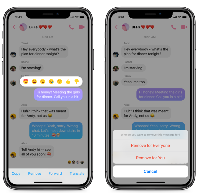 Facebook Messenger starts rolling out Unsend