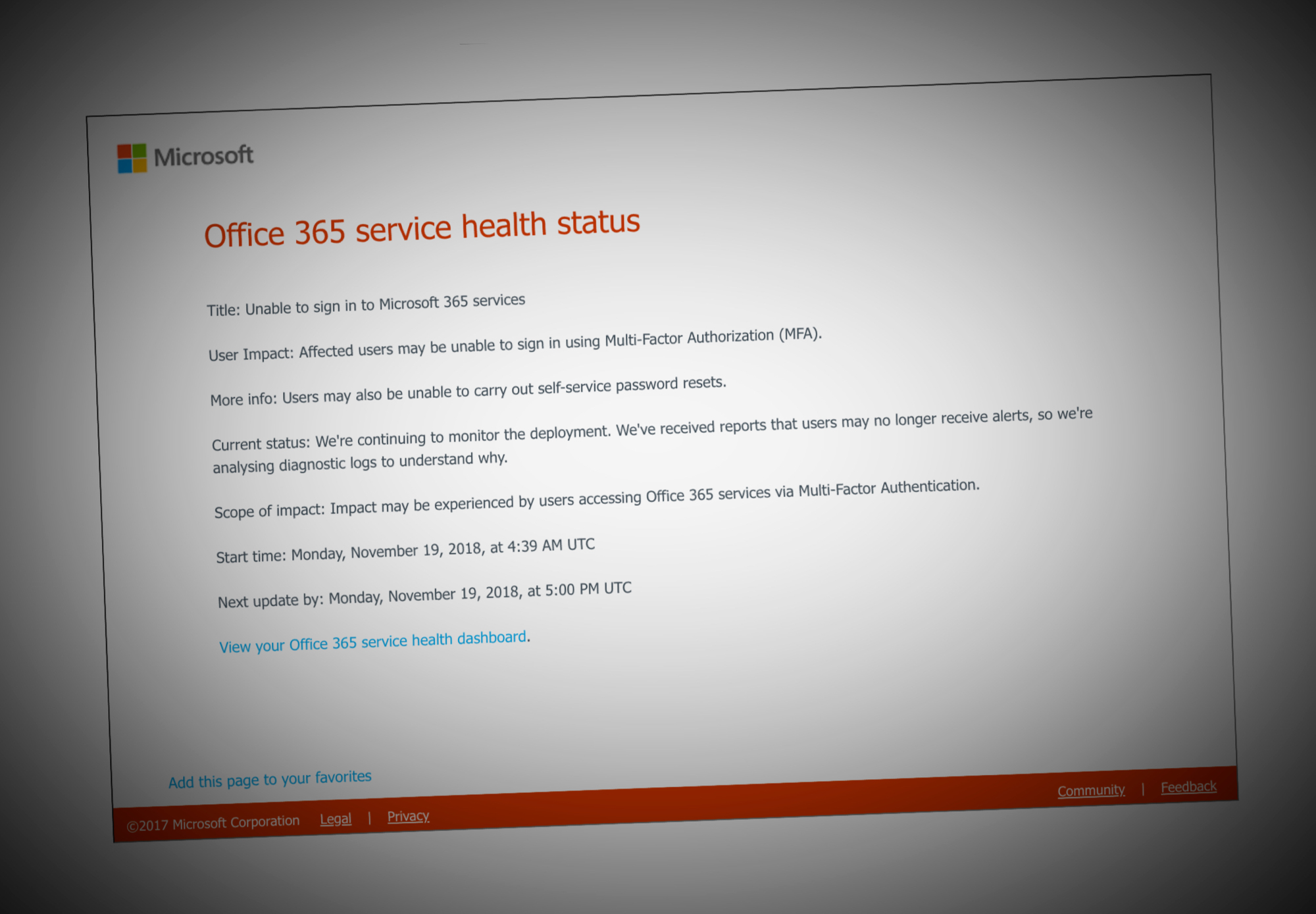 Office 365, Azure users are locked out after a global multi